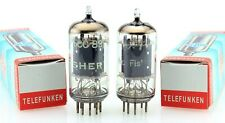 """MATCHED PAIR """"The Fisher"""" TELEFUNKEN <> ECC83 12AX7 SMOOTH PLATE VACUUM TUBES"""