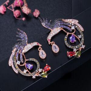 QooLady Schwarz und Roségold Zirkon 925 Silber Dangle Vogel Ohrringe für Frauen