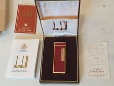 Dunhill Rollagas Lighter - 1973 Burgandy Lacquer and Gold. With box and Working.