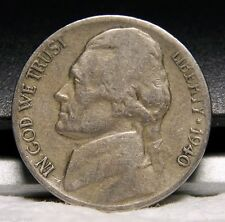 1940 S Jefferson Nickel, Nice, Circulated, Low Mintage of 39.6 Mil, Ship Free