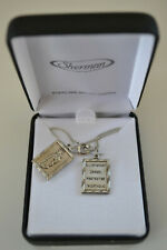 Double Charm Scapular Sterling Silver Necklace, Sacred Heart, Virgin & Child NIB
