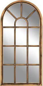 Creekwood Modena Indoor/Outdoor Lightweight Arched Window Wall Mirror, Brushed C
