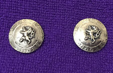 2 Vintage Silver-plated Buttons with a Embossed Lion, Flat back
