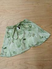 Dasha Adult Dance Ballet Skirt Wrap Around Tie Waistband Green Floral Print