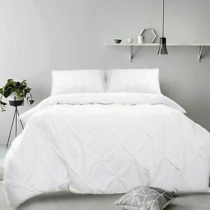 Bedding Linen Quilt Cover Diamond Pinch Pleat Pintuck Duvet Cover Set In White