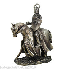 Crusader Knights on Horse Bronze Finished Cold Cast Resin Statue 9""