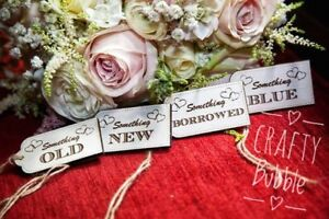 4x Something old/new/borrowed/blue hand made wedding laser engraved wooden tags