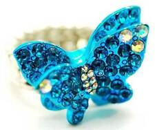 New Crystal Enamel Butterfly Cocktail Stretch Adjustable Ring in Gift Box