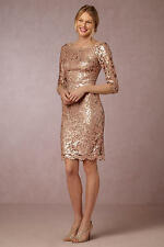 New Anthropologie BHLDN Joan dress By Tadashi Shoji 16 Rose gold sequined lace