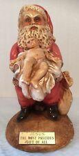 Mario Vivian Ceramic Santa Clause Holding Baby Jesus Sculpture