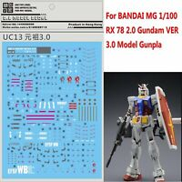 UC13 Water Decal Sticker Para BANDAI MG 1/100 RX-78 2.0 Gundam 3.0 Model Gunpla