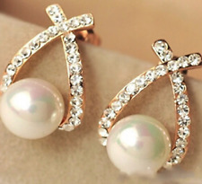 0d16d7614 Gold Color Faux Pearl Clear Crystal Diamante Stud Drop Earrings - Bridal /  Prom