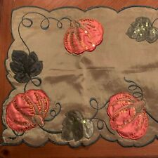 """Thanksgiving Fall Table Runner Pumpkin Leaves Sequins Embroidered 13""""x68"""""""