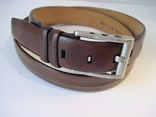 MENS AVVENTURA BROWN SOFT LEATHER BELT SILVER TONE BUCKLE SIZE 40