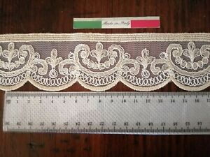 PIZZO MERLETTO PER TENDE SU TULLE MADE IN ITALY HCM 5. NUOVO