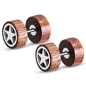 Organic Tamarind Wood All Star Steel Faux Fake Cheater Ear Plugs Gauge, Pair