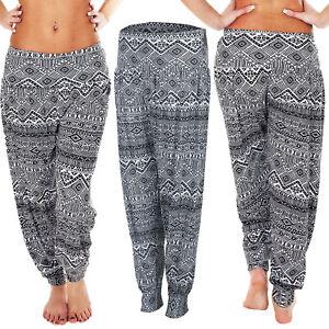 Womens Baggy Legging Ladies Ali Baba Print Hareem Elasticated Pant Trousers New