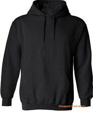 1 x Hoodie Jumper Hood Sweatshirt Adult Plain Black Kangaroo Pocket WinterWarm