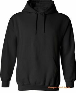 2 x Hoodie Jumper Hood Sweatshirt Adult Plain Black Kangaroo Pocket WinterWarm