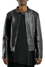 NEW Topman 'AAA Collection' Black Leather Collarless Biker Jacket- Medium