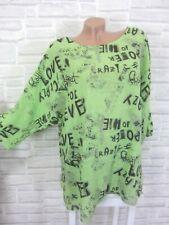 Tunika Oversize Lagenlook Bluse Shirt Schrift Leinen Look 42 44 46 Grün P268 Neu