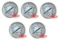 "Qty 5 Air Pressure Gauge 2.5"" Center Back Mount 1/4"" NPT 2-1/2"" Dial 0-200 PSI"