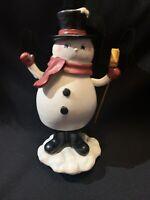Vintage White Moving Snowman Music Box Plays: Jingle Bells EUC