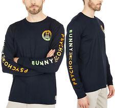 Men's Psycho Bunny Long Sleeve Sheffield Gradient Graphic Tee Logo Navy Shirt