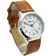 Ravel Mens Super-Clear Easy Read Quartz Watch Brown Strap White Face R0130.12.1