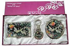 Business card holder ID case Makeup compact mirror keychain ring gift set #45