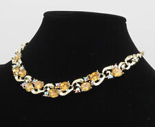 "Old Vintage Lisner Faux Amber Topaz Aurora Borealis Rhinestone 16.5"" Necklace"
