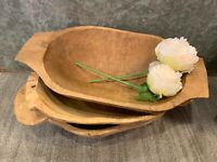 Carved Wooden Dough Bowl Primitive Wood, Vintage Wood Dough Bowl