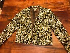 Transitions Size Small Blazer Jacker Leopard Print Black/Green (BL)