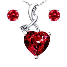 925 Sterling Silver Women 4.03Ct Red Ruby Pendant Heart Cut Necklace Earring Set