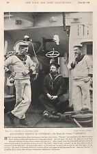 1896 MILITARY PRINT : ON BOARD THE CRUISER 'THESEUS'