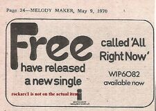 FREE - PAUL RODGERS Alright Now 1970 small UK Press ADVERT 3x3 inches