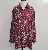 J. Jill Long Sleeve Tunic Button Front Blouse Size XL Floral Print Top NWT