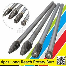 4Pcs/set Rotary Burr 1/4'' Shank 6'' inch Long Reach Double Cut Carbide Tool Kit