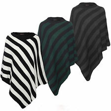 New Women Ladies Stripe Knitted Winter Poncho Wrap Shawl Cape
