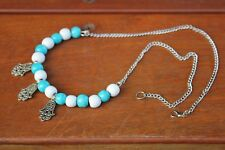 Charm Necklace Hand Of Fatima Pendants Wood Blue White Beads Silver Chain Boho