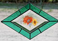 Bleiverglasung Fensterbild Glasmalerei- Facette mit Echt- Antikglas in Tiffany