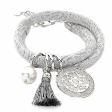 BOCCADAMO ITALY $112 Choker Necklace  Bracelet JACQUARD Gray Tassle & Silver MYA