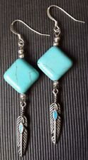 Turquoise Feather drop Earrings ~ 925 Sterling Silver Ear Hooks ~ Long dangle