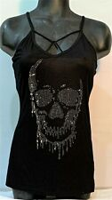 VOCAL APPAREL SKULL PRINT SHIRT WITH STONE AND STRAP DETAIL