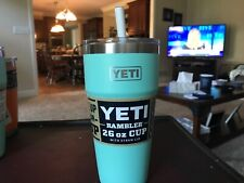 New listing Yeti Rambler 26 oz Stackable Cup with Straw Lid! * Seafoam! * hard to find