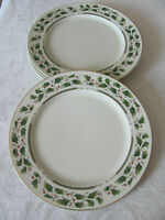 Holly Holiday-Home for the Holidays -Holly w/ Gold Rim -Dinner Plate(s)- 4 Avail