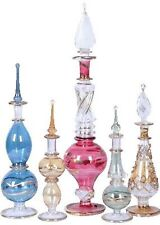 5 pc Mix LOT of EGYPTIAN mouth Pyrex Glass Perfume Bottles