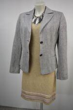 BIBA  Damen Blazer Jacke 38  Seide Schurwolle Schwarzgrau-Weiß  Klassisch