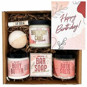 Birthday Spa Set for Women Relaxing Girlfriend Wife Candle, Salts, Bath Bomb