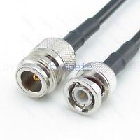 BNC male plug to N-Type female jack RF RG58 RG58/U Coax Coaxial cable Any Long